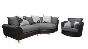 Superb Details About Brand New Large Elise Corner Sofa In Black Grey Fabric With Swivel Chair Bralicious Painted Fabric Chair Ideas Braliciousco