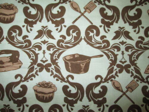 RETRO 50/'s ITEMS CUPCAKES PANS IRON BAKING COOKING BROWN COTTON FABRIC FQ OOP