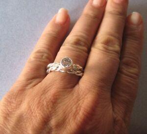 Image Is Loading 925 Sterling Silver Bezel Set Cz Engagement Eternity