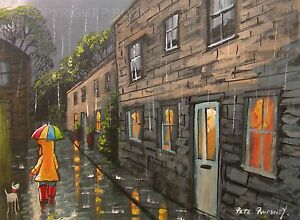 Pete-Rumney-Art-Original-Canvas-Painting-Down-The-Lane-In-The-Rain-Fun-Rain-Art