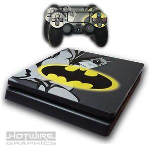 PS4-SLIM-Skin-Sticker-Kit-DC-BATMAN-GRAPHIC-AND-SKULL-Sticker-Kit