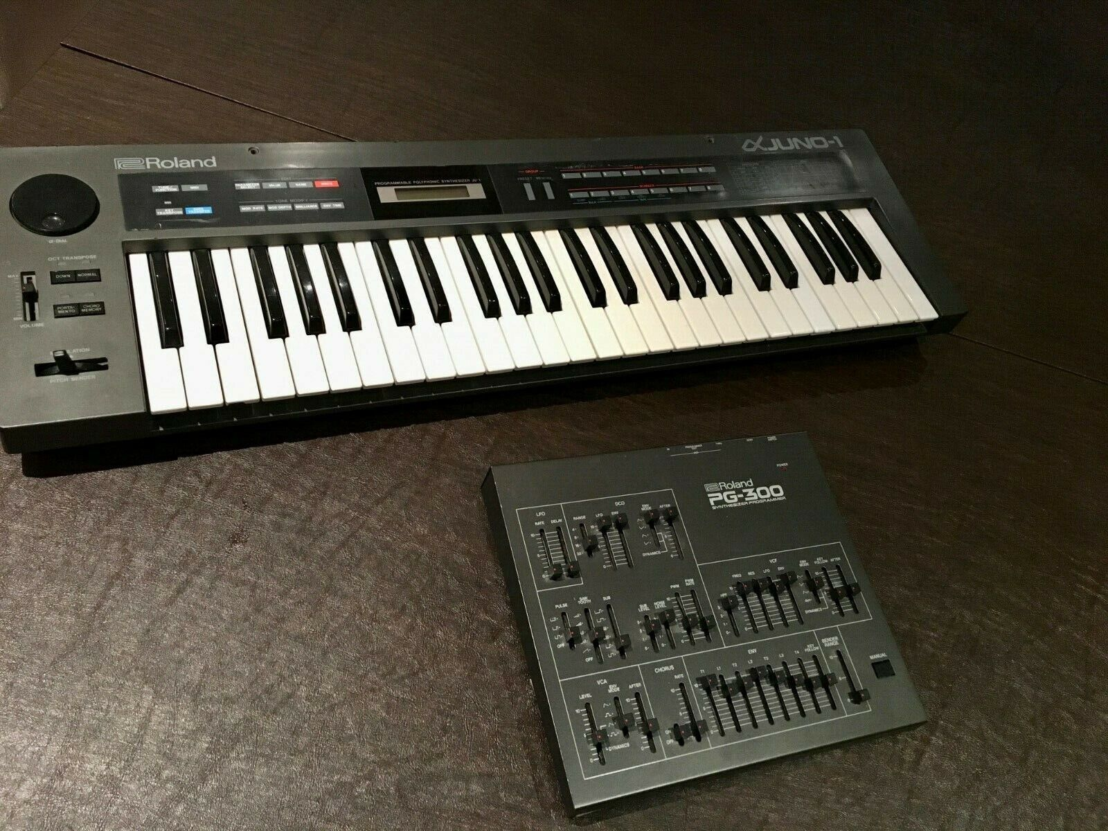 Roland Alpha Juno 1 Synth & PG-300 Programmer + Power Supplies MIDI Cable Bundle