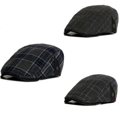 Herren Gitter Barett Hüte Schiebermütze Golfmütze Efeu Cabbie Schirmmütze Kappe