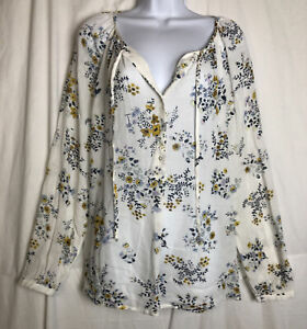 Lucky Brand Womens White Floral Pullover Blouse Sheer Size M NEW TAGS