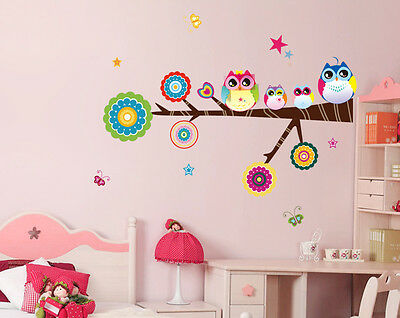 Cute Colorful Owl Family Branch Buterfly PVC Wall Stickers Decal Decor for Kids