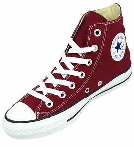 Converse Hi Top All Star Chucks White Burgundy Mens Womens Shoes All ... a5de9e85b8a3