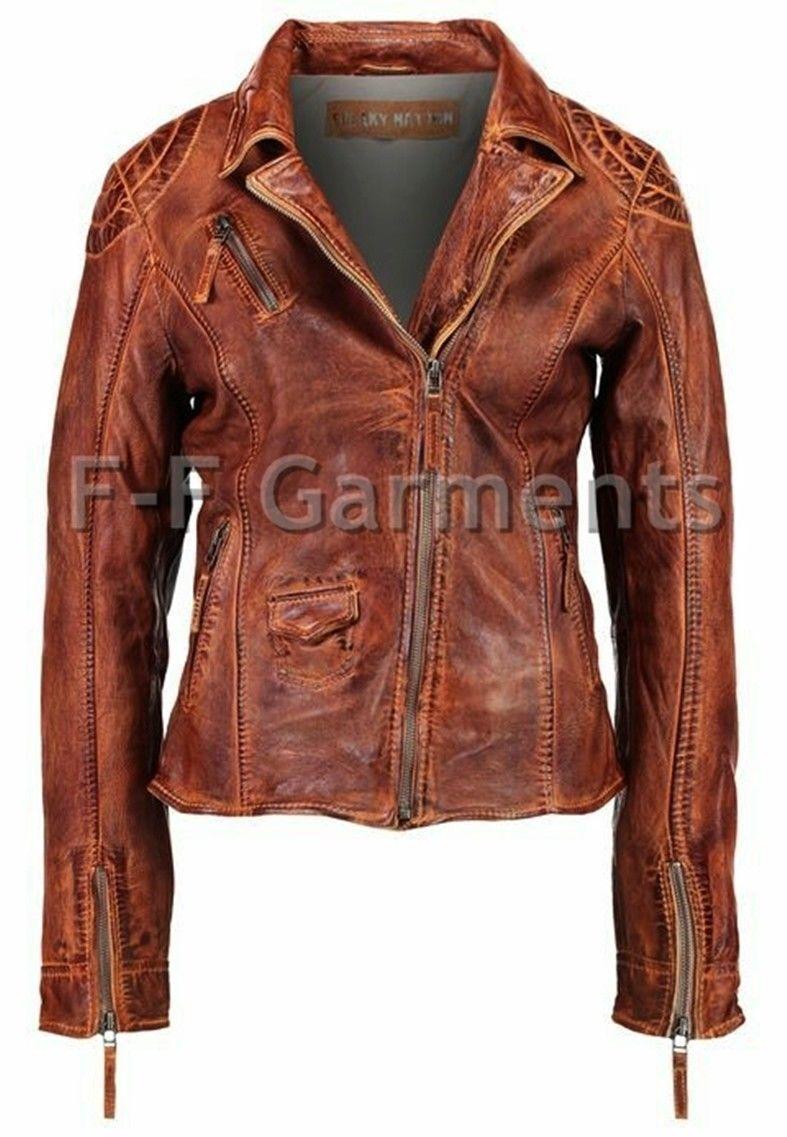 Para Para Para mujeres con aspecto envejecido Antiguo Marrón Cuero Chaqueta Estilo Ciclista Vintage Cafe Racer 6304a5
