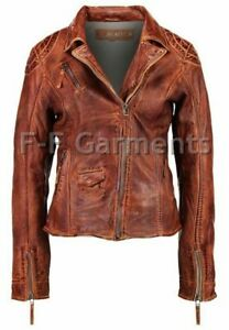 e3b5a2ea6 Details about Women's Distressed Antique Brown Cafe Racer Vintage Biker  Leather Jacket