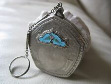 Antique Art Deco Silver T Blue Guilloche Engraved Peacock Bird Dance Compact