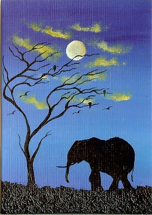 ACEO ORIGINAL Acrylic Elephant Clouds Africa Landscape Wildlife ATC Art HYMES 2