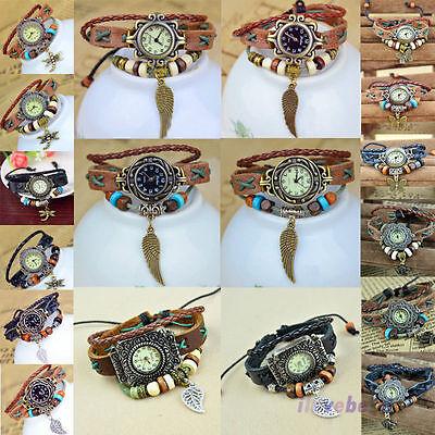 Ladies Crown Butterfly Wing Leaves Vintage Genuine Leather Wristwatch Bracelet
