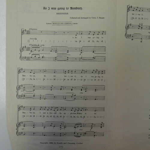 choral vocal score AS I WAS GOING TO BANBURY cecil sharpe UNISON