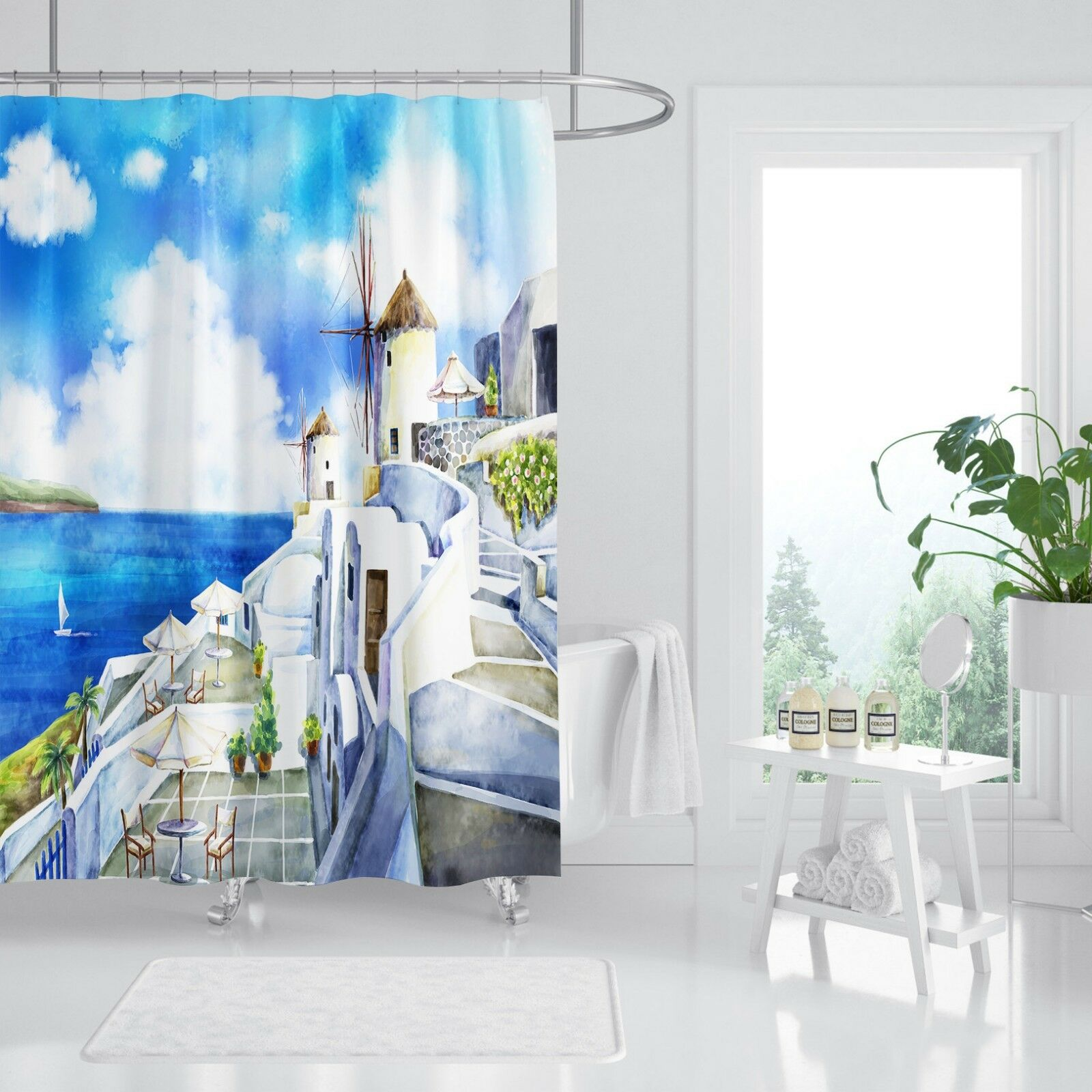3D Castle Blau Sea 5Shower Curtain Waterproof Fiber Bathroom Home Windows Toilet