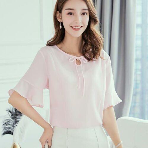 Top Ladies T-Shirt Women Loose Blouse Shirt Chiffon Short Sleeve Summer Fashion