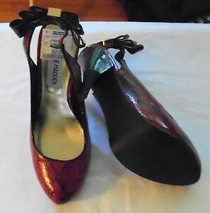 163b582ded Steve Madden heels sz 6.5 M Mevas slingback red animal print   eBay