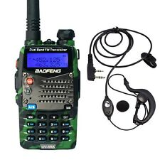 Baofeng UV-5RA Green Dual Band UHF/VHF Two Way FM Radio + UV-5R A Earpiece US