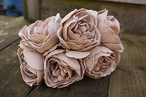 6-x-PALE-COFFEE-MOCHA-COLOURFAST-FOAM-PEONY-ROSES-9cm-BRIDAL-FLOWERS