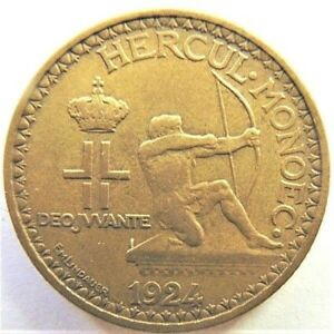 1924-MONARCO-Louis-II-2-Francs-grading-Good-VERY-FINE