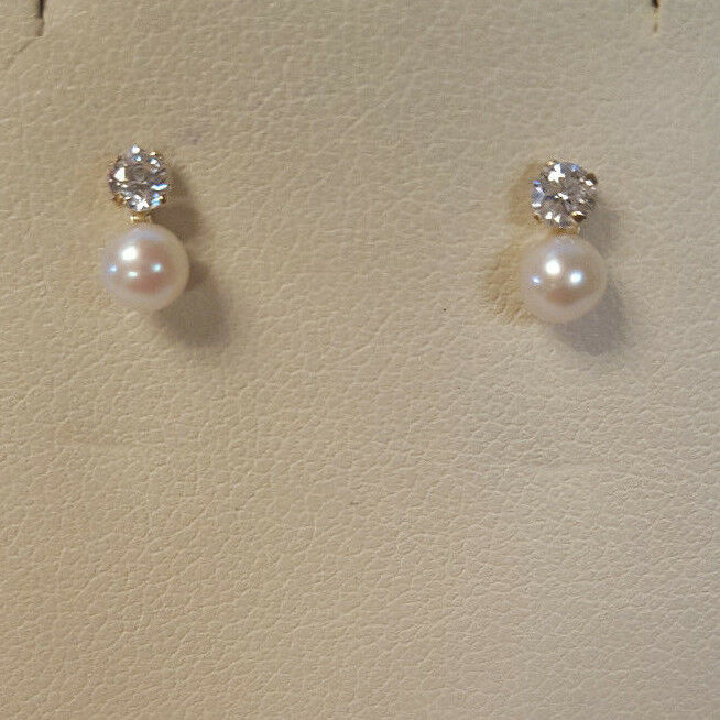 Small Designer S 10K Yellow gold Round Pearl & Cubic Zirconia Post Stud Earrings