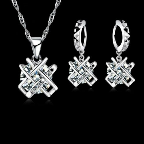 Set Damen Ohrringe Halskette Zirkonia 925er Sterling Silber Schmuck Hänger