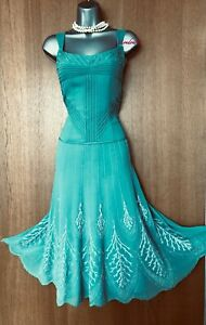 UK-12-KAREN-MILLEN-Green-Silk-Embroidered-Beaded-Fit-Flare-Cocktail-Party-Dress