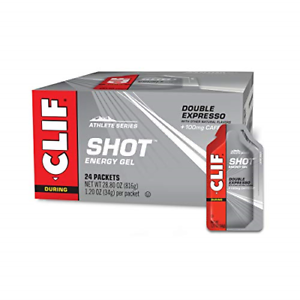 CLIF SHOT - Energy Gels - Double Espresso - 100mg Caffeine 1.2 Ounce Packet, 24