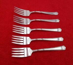 5-Salad-Forks-Homestead-by-Wm-Rogers-Silverplate-Flatware-Silverware-6-034