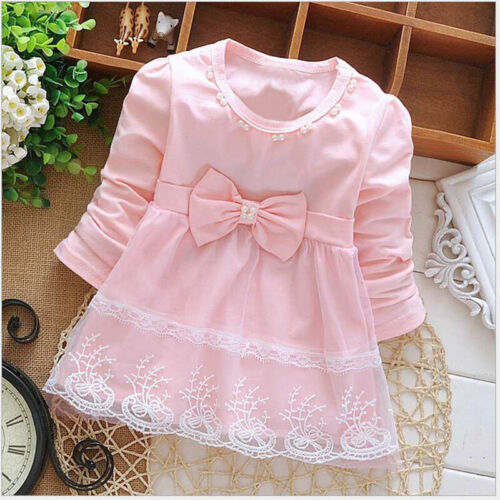 Long Sleeve lace Bow cute baby Party Birthday girls kids Children dress,princess