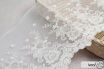 1y Embroidery mesh Broderie Anglaise Eyelet Lace Trim yh1320 wide 21cm Ivory