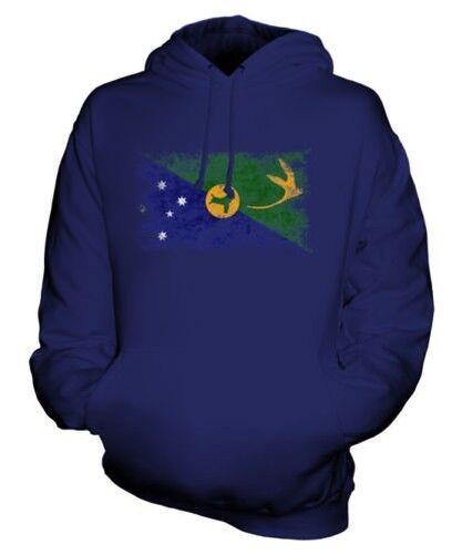 CHRISTMAS ISLAND DISTRESSED FLAG UNISEX HOODIE TOP FOOTBALL GIFT CLOTHING
