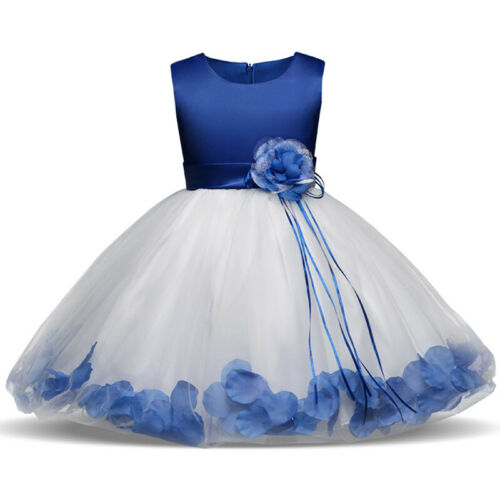 Girl Petals Flower Dress Bow Knot Bridesmaid Wedding Princess Formal Party Dress
