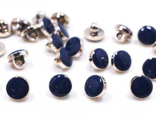 Petit bleu foncé tige boutons or rose bord brillant de forme ronde ABS 10 mm 20pcs