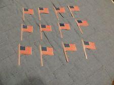 Lot 12 Plastic US Flag Cupcake Cake Toppers New Unused
