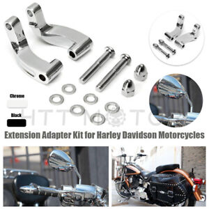 Chrome Mirror Relocation Extension Adapter Kit For Harley Davidson Motorcycles Ebay