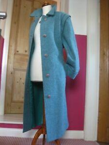 Ladies-EASTEX-UK-18-100-WOOL-duck-egg-blue-COAT-full-length-long-50s-60s-retro
