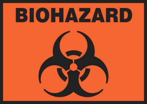 Adhesive Vinyl BIOHAZARD Safety Label 5//PK  5 PK W//GRAPHIC