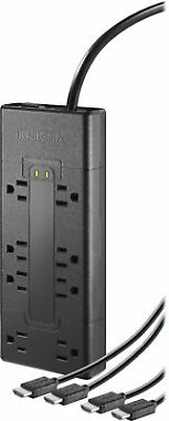 Insignia 8-Outlet Surge Protector with Two 8' 4K UltraHD/HDR HDMI Cables