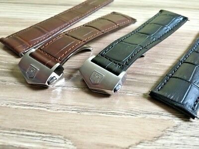 Bescheiden Leather Strap For Tag Heuer Black Brown 20 Or 22mm Monaco Carrera Croco Style