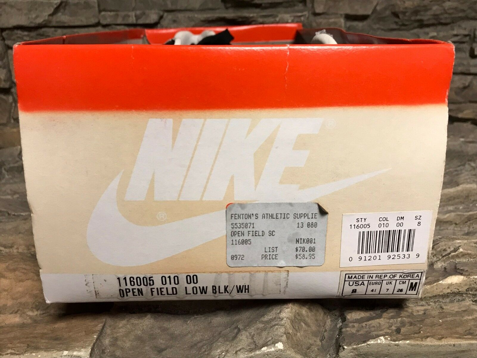 VTG OG Nike Open Field Low Nero Shoes Cleats Rare Display Box NOS New Uomo Sz 8
