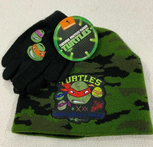 TEENAGE MUTANT NINJA TURTLES BOY/'S CAMO WINTER BEANIE HAT CAP /& GLOVE SET
