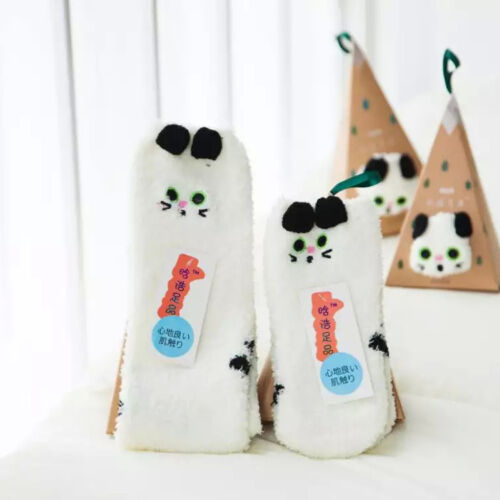 Lovely Women Girl Winter Christmas Xmas Pet Coral Fleece Fur Socks Cat Snowman