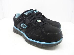 Details about SKECHERS WORK Women's Aluminum Toe Steel Plate Work Shoe BlackBlue Size 9M