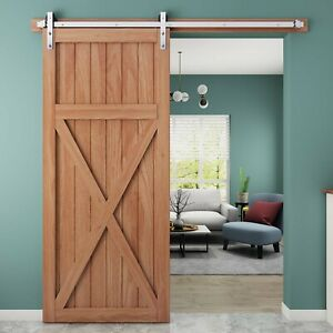 Country-Rustic-Interior-Stainless-Steel-Sliding-Barn-Door-Hardware-Track-Kit