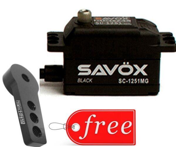 Savox SC1251MG-BE Versione Nera Low Profile Servo Digitale + Gratis Corno in