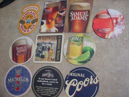 10 DIFFERENT BEER COASTERS COORS, MICHELOB LIGHT, SAM ADAMS + USED FREE USA SHIP