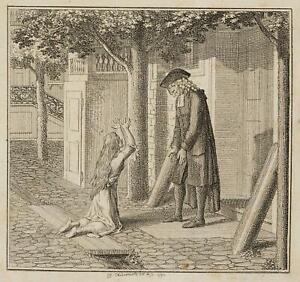 Chodowiecki (1726-1801). un dirne supplica per assistenza; pressione grafico