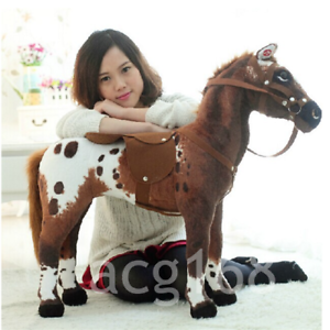 Giant Simulation War Horse Ridable Toys Animal Plush Soft Kid Birthday Gift 90CM
