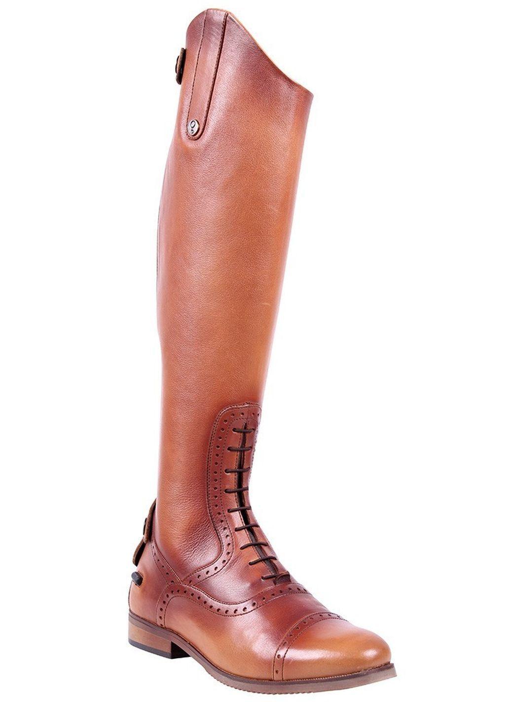 QHP Damen Luxus Leder-Reitstiefel Sophia weit cognac Größe 36 - 42