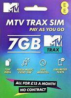 EE MTV Trax PAYG SIM Card FREE MTV TRAX + 7GB data + 500 minutes, £15 per month