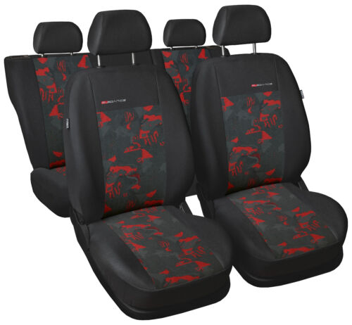 Car seat covers full set fit Nissan Qashqai 2013-On charcoal grey//red verlour
